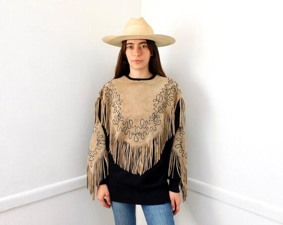 Jessa Sweater // vintage 70s 80s knit boho hippie southwestern black fringe suede dress blouse top shirt oversize hippy 1970s tunic // O/S