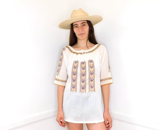 Needlepoint Blouse // vintage 70s ivory white dress top shirt boho hippie 1970s hand embroidered tunic Greek // S/M