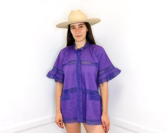 Mexican Pin Tuck Blouse // vintage cotton boho hippie Mexican embroidered dress hippy purple lace tunic // O/S