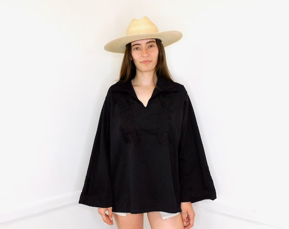 Hand Embroidered Blouse // vintage 70s Mexican black cotton boho hippie oversize tunic hand embroidered dress hippy // O/S