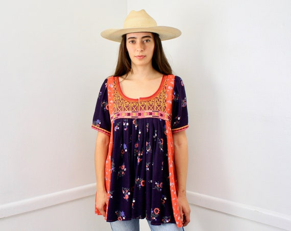 Afghan Blouse // embroidered Indian boho hippie hippy sun blue red // S/M
