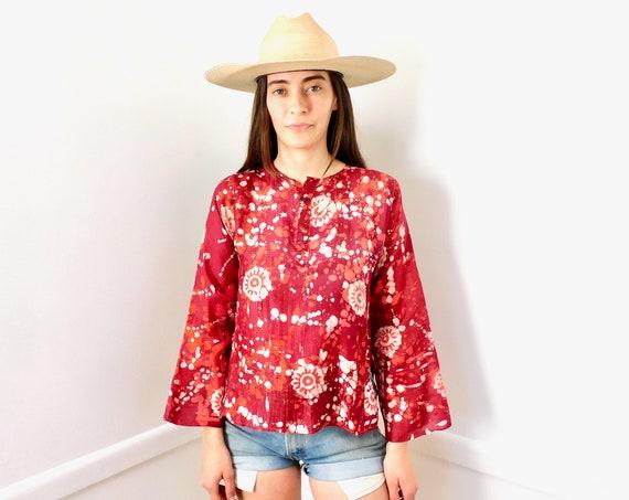Indian Silk Blouse // vintage dress boho hippie tunic red white silk India 70s 1970s tie dye // S Small