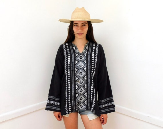 Baja Blouse // vintage embroidered black dress 70s top shirt boho hippie woven tunic cotton Mexican // O/S