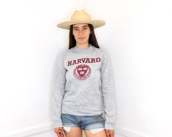 Harvard Sweatshirt // vintage 70s sweater t-shirt boho tee t shirt cotton top 80s grey dress // S/M