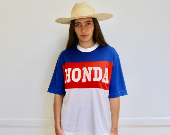 Honda Tee // vintage 70s 1970s cotton white boho shirt t-shirt t dress blue thin soft red hippie hippy motocross racing // O/S