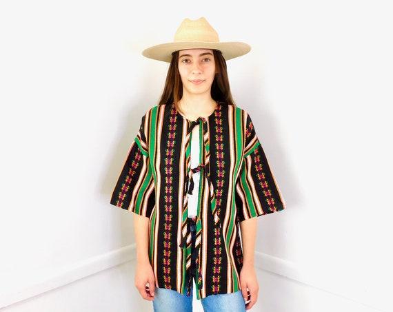 Guatemalan Jacket // vintage 80s woven dress blouse boho hippie Guatemala 1980s hippy black // S/M
