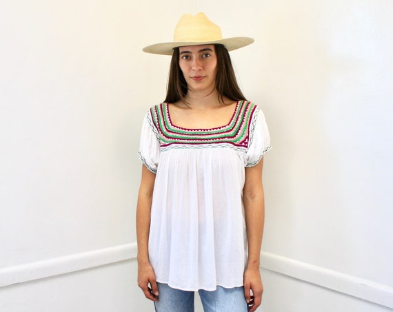 Carolina Blouse // vintage 70s 1970s boho cotton tunic white hand embroidered dress top shirt hippie Mexican gauze // O/S