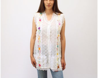 Daisy Tunic // vintage 70s Mexican cotton sun blouse dress 1970s boho ethnic hippie pin tucked tuck hippy white lace dress // O/S