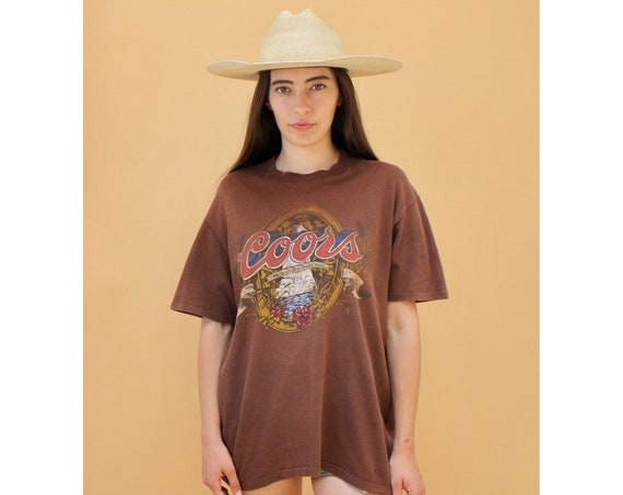 Coors Waterfall Shirt // vintage 70s boho brown river tee t-shirt t dress tunic beer Coors' cotton 80s // O/S