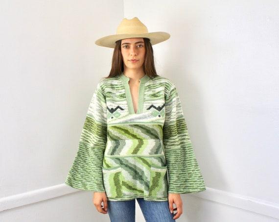 Laurel Canyon Sweater // vintage 70s knit boho green hippie dress blouse space dye // O/S