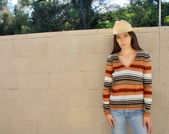Echo Park Sweater // vintage knit boho hippie hipster dress blouse top shirt hippy 70s striped 80s // O/S