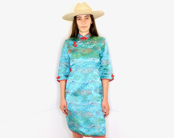 Brocade Asian Dress // vintage boho sun Asian hippie mini Chinese hippy turquoise 70s 1970s floral // S Small