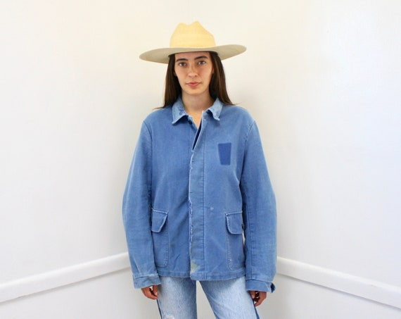 French Chore Jacket // vintage 70s hippy jean boho hippie distressed blouse shirt dress 1970s cotton blue denim work // O/S