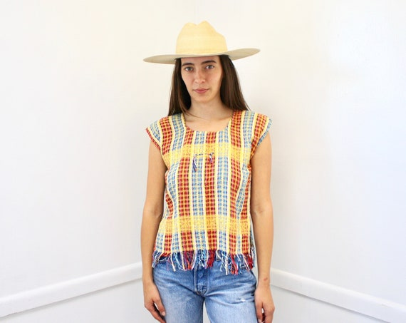 Roma Blouse // vintage dress top shirt boho hippie woven tunic cotton yellow Mexican Guatemalan 70s // S Small