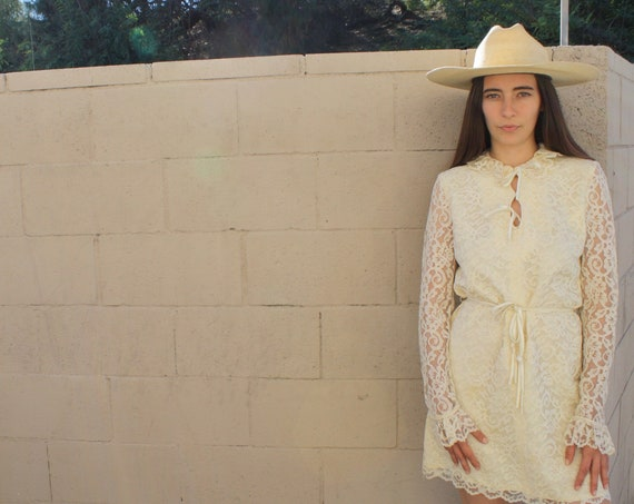 Lolita Dress // vintage 60s floral dress high waist 70s boho ruffle lace hippie hippy hippie ivory party formal wedding mini white // S/M