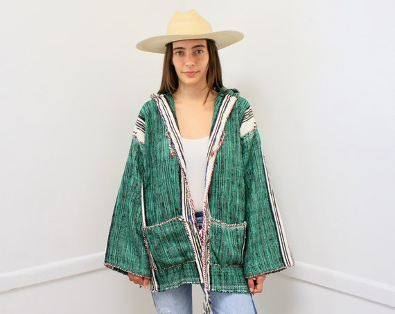 Serape Hooded Jacket // vintage woven embroidered dress blouse boho hippie cotton Mexican 70s hippy green // O/S
