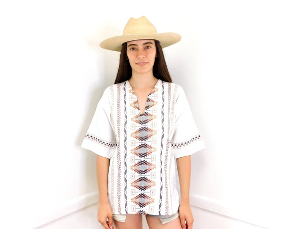 Baja Blouse // vintage cotton boho hippie Mexican embroidered dress hippy white // O/S