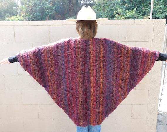 Batwing Cardigan Sweater // vintage knit boho hippie dress mohair 1980s hippy 80s tunic oversize jacket wool // O/S