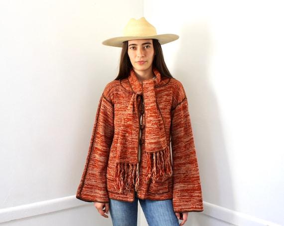 Scarf Cardigan Sweater // vintage 70s space dye knit hippie dress blouse hippy 1970s orange // S/M