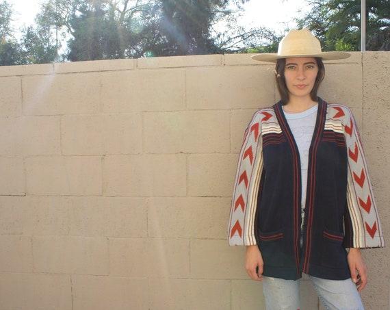 Arrows Cardigan Sweater // vintage 70s knit boho hippie dress blouse shirt hippy 1970s tunic space dye // O/S