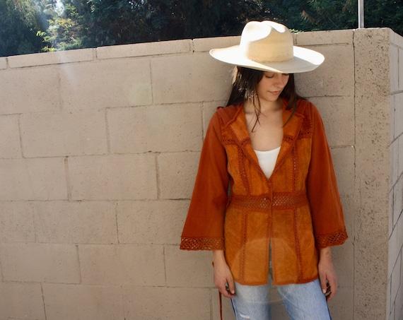 Laurel Canyon Suede Crochet Cardigan // vintage 70s knit boho hippie dress blouse hippy sweater 1970s orange // S/M