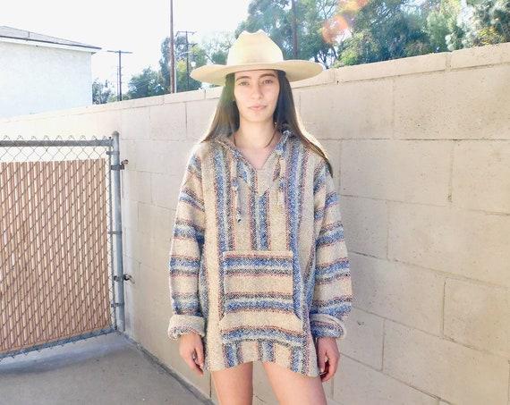 Baja Poncho // vintage oversize top shirt boho hippie blouse woven cotton Mexican 70s 80s // O/S