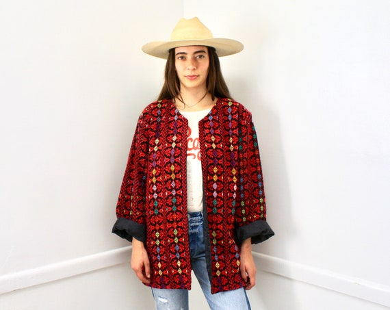Hand Embroidered Jacket // vintage blouse black 70s dress boho hippie red Oaxacan Mexican oversize blazer // O/S