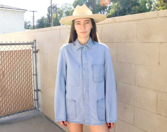 French Chore Coat // vintage 70s light hippy jean jacket boho hippie blouse shirt dress 1970s oversize denim work painters // O/S