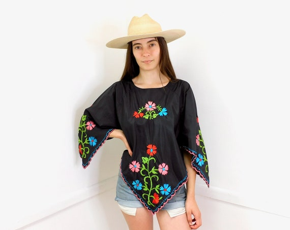 Yucatan Embroidered Blouse // vintage black scarf boho hippie Mexican hand embroidered dress hippy 70s // O/S