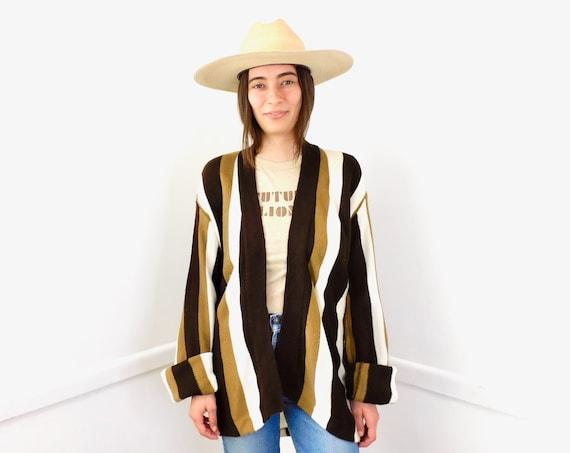 Echo Park Cardigan Sweater // vintage 70s knit hippie dress blouse hippy 1970s tunic space dye brown white striped // O/S
