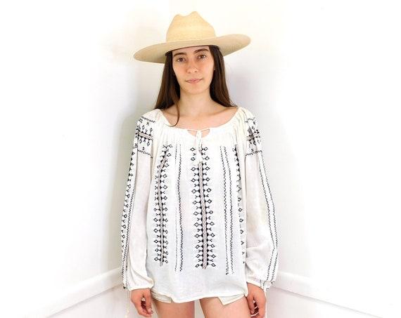 Indian Gauze Blouse // vintage 70s white cotton boho hippie hippy tunic embroidered dress // O/S