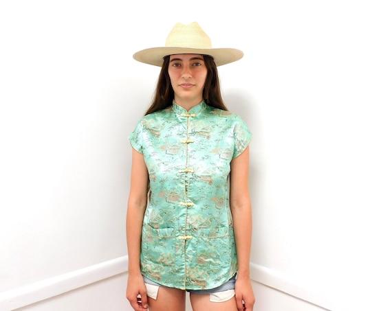 Kimono Blouse // vintage dress brocade boho hippie Asian Japan 60s 70s // S/S