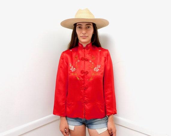 Lotus Blouse // silk rayon vintage dress boho hippie Asian jacket hand embroidered robe 70s red Chinese kimono // S/M