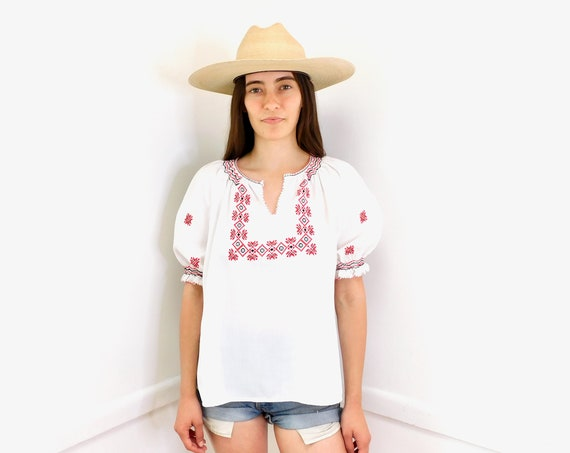Eastern European Blouse // vintage 70s boho hippie white top shirt dress hippy hand embroidered Hungarian // O/S