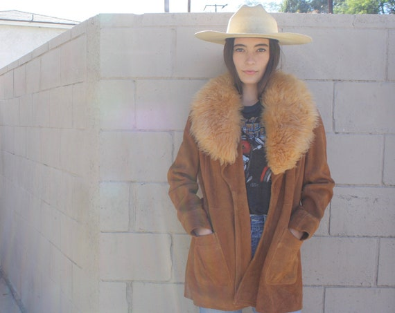 Penny Lane Shearling Coat // vintage 60s 70s brown suede jacket boho hippie leather hippy dress sheepskin // O/S