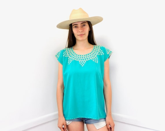 Teal Tuesday Blouse // vintage 70s Mexican turquoise cotton boho hippie tunic hand embroidered dress hippy // O/S