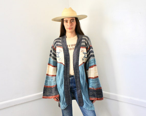 Yucca Valley Cardigan Sweater // vintage 70s knit hippie dress blouse hippy 1970s tunic space dye white // O/S