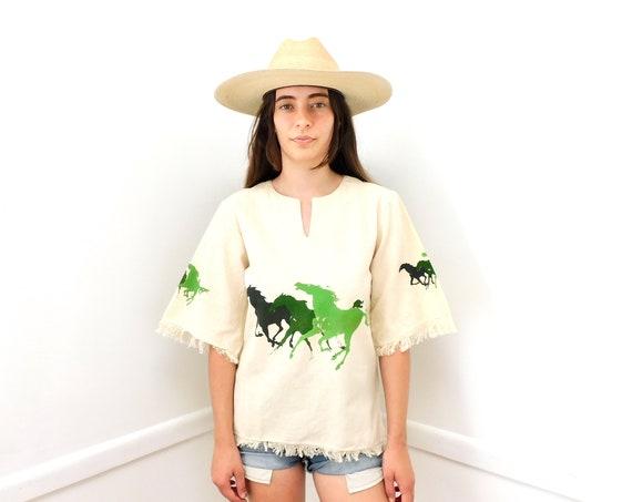 Wild Horses Indian Blouse // vintage 70s boho cotton dress India horse horses hippie 1970s hippy tunic // S/M