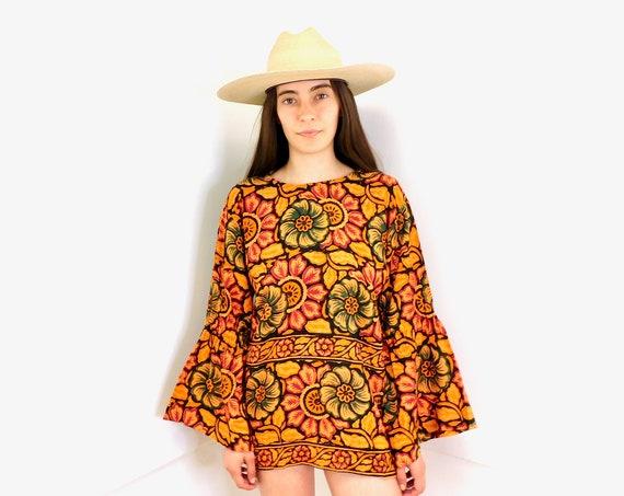 Indian Hand Blocked Tunic // vintage 70s mini dress blouse boho hippie hippy 1970s cotton India orange // S/M