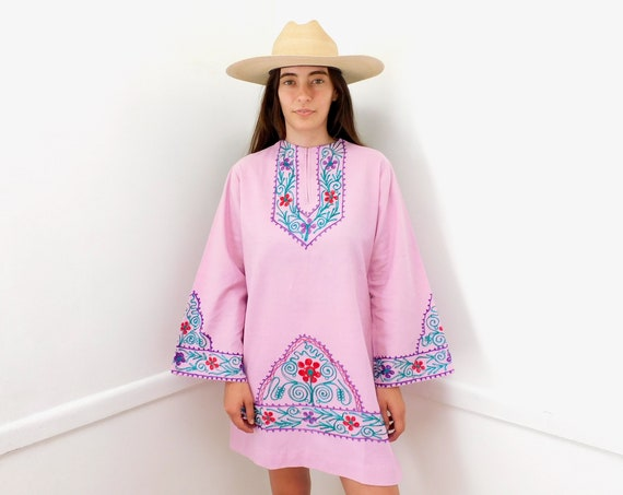 Indian Chain Stitch Tunic // vintage 70s embroidered purple lavender mini dress blouse boho hippie hippy 1970s cotton // O/S