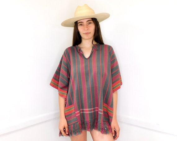 Rainbow Blouse // vintage red dress 70s top shirt boho hippie cotton Mexican // O/S