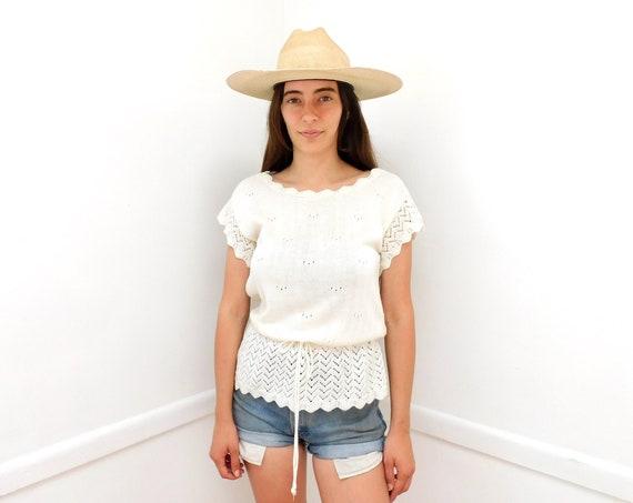 Topanga Canyon Knit Blouse // vintage boho hippie sweater dress hippy shirt 70s 1970s white // S Small
