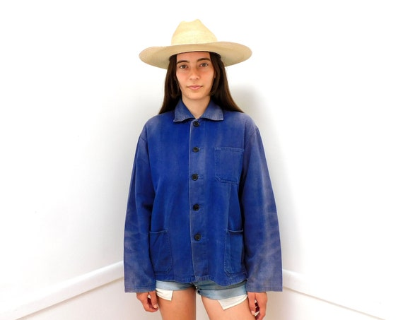 French Chore Coat // vintage 70s hippy jean jacket boho hippie distressed blouse shirt dress 1970s cotton blue denim work painters // O/S