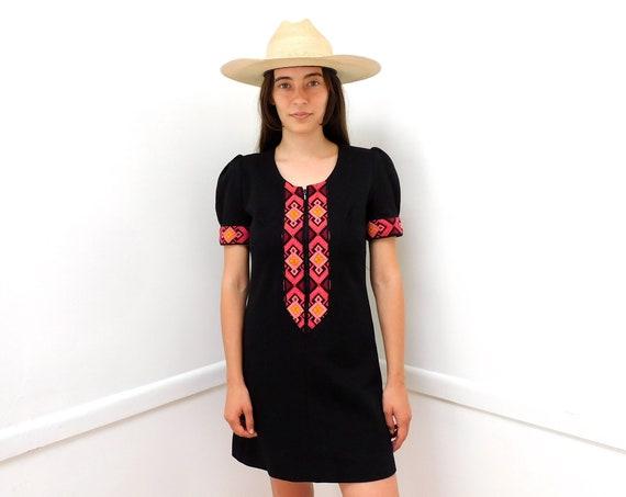 Liverpool Dress // vintage mod 60s boho empire high waist mini black sun hippie hippy 1960s wool hand embroidered neon // S Small