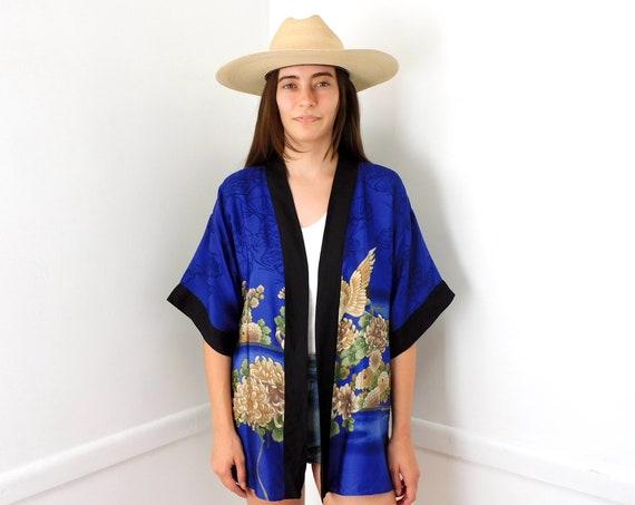 Bird Kimono // vintage blouse dress boho hippie blue top shirt jacket robe tunic 60s 70s // O/S