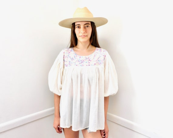 Mexican Gauze Blouse // vintage tunic boho hippie 70s 1970s hand Mexican embroidered dress hippy cotton ivory white Oaxacan // O/S
