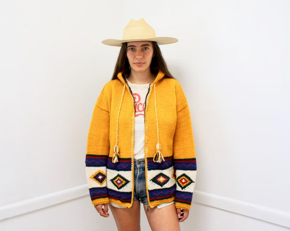 29 Palms Hooded Cardigan // vintage 70s knit boho hippie yellow gold mustard dress blouse hood space dye hippy sweater 1970s // O/S