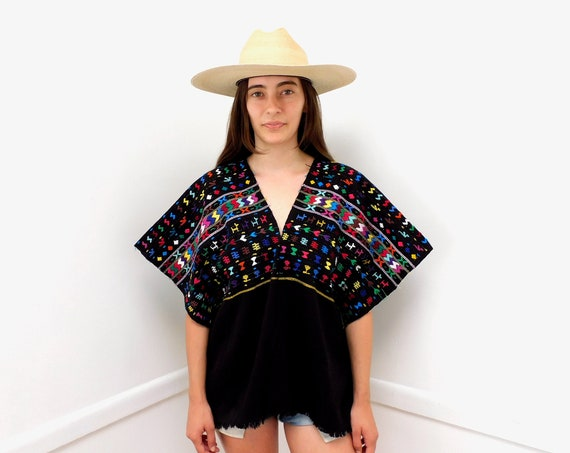 Huipil Blouse // vintage 70s 1970s tunic boho black hippie Mexican hand embroidered dress hippy // O/S