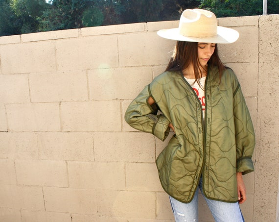Basecamp Liner Jacket // vintage army green military boho hippie oversize dress coat blouse 70s 1970s hippy // O/S
