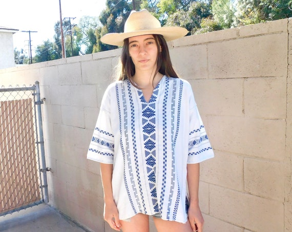 Baja Blouse // vintage embroidered dress 70s top shirt boho hippie woven tunic cotton Mexican // O/S